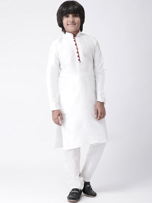 HANGUP Boys White Solid Silk Kurta (Kid_2KP_P2 )