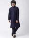 HANGUP Boys Navy Blue Solid Silk Kurta (Kid_2KP_P3 )
