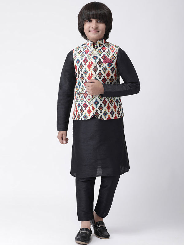 Hangup Boys Viscose Printed  Multi Color 3Pc Kurta Pyjama and Waistcoat(Kid_3KPW_Black52A)