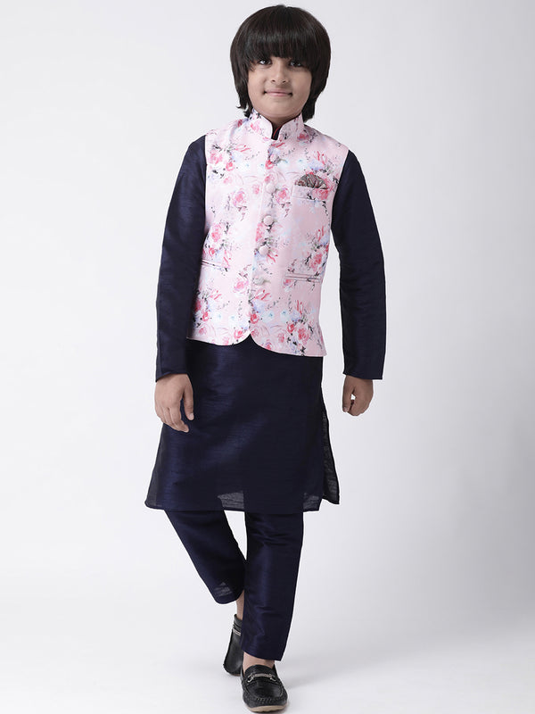 Hangup Boys Viscose Printed  Multi Color 3Pc Kurta Pyjama and Waistcoat(Kid_3KPW_Navy10A)