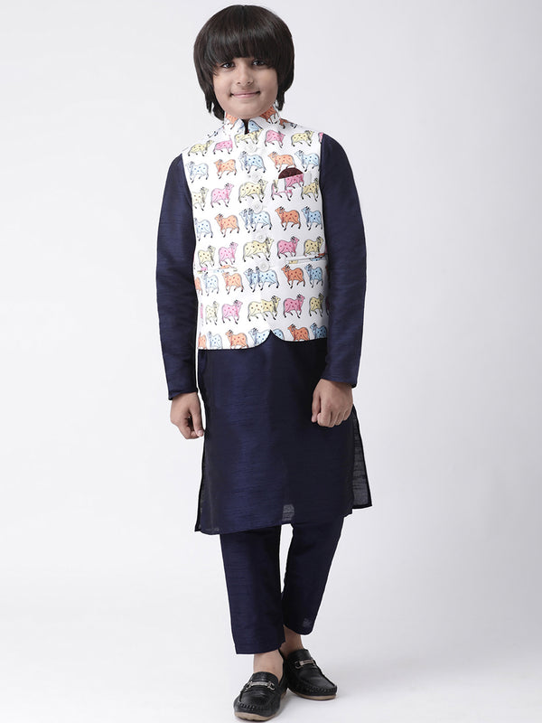 Hangup Boys Viscose Printed  Multi Color 3Pc Kurta Pyjama and Waistcoat(Kid_3KPW_NavyKW3)