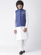 Hangup Boys Viscose Printed  Multi Color 3Pc Kurta Pyjama and Waistcoat(Kid_3KPW_White90A)