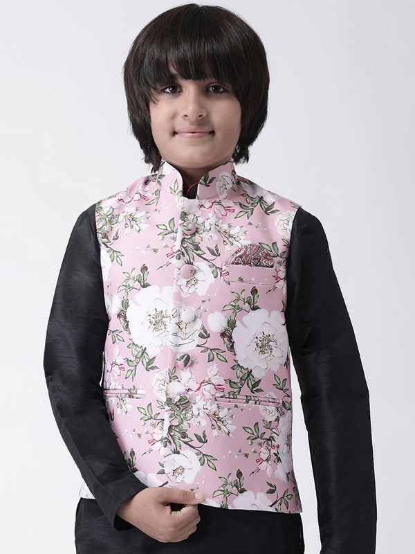 Hangup Boys Polyester Blend Printed  Multi Color Waistcoat(Kid_Nehru_5A)