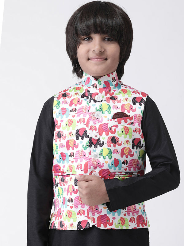 Hangup Boys Polyester Blend Printed  Multi Color Waistcoat(Kid_Nehru_KW1)