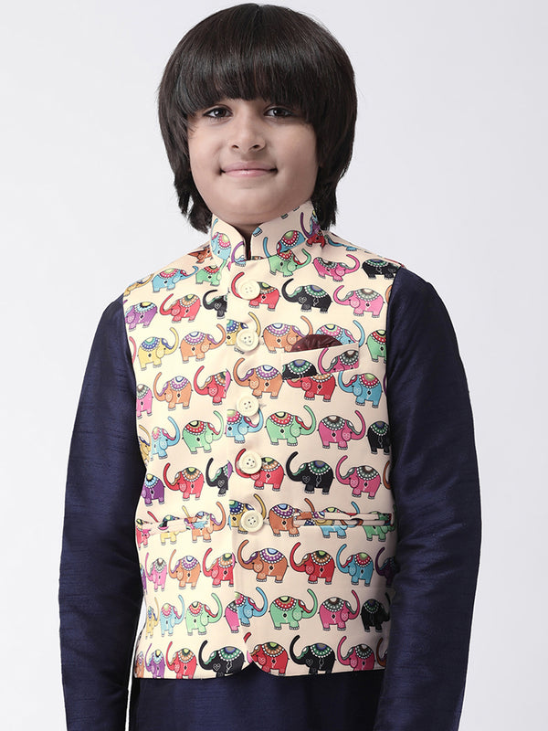 Hangup Boys Polyester Blend Printed  Multi Color Waistcoat(Kid_Nehru_KW2)