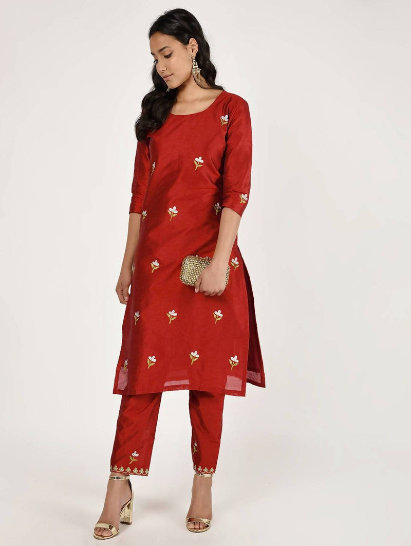 Embroidered Silk kurta pant set (CH069K)