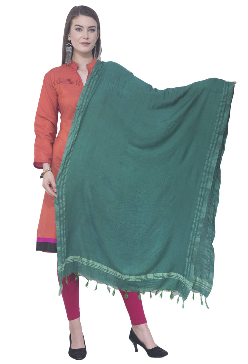 A R SILK Rama green Color Golden border Cotton Dupattas and Chunnis