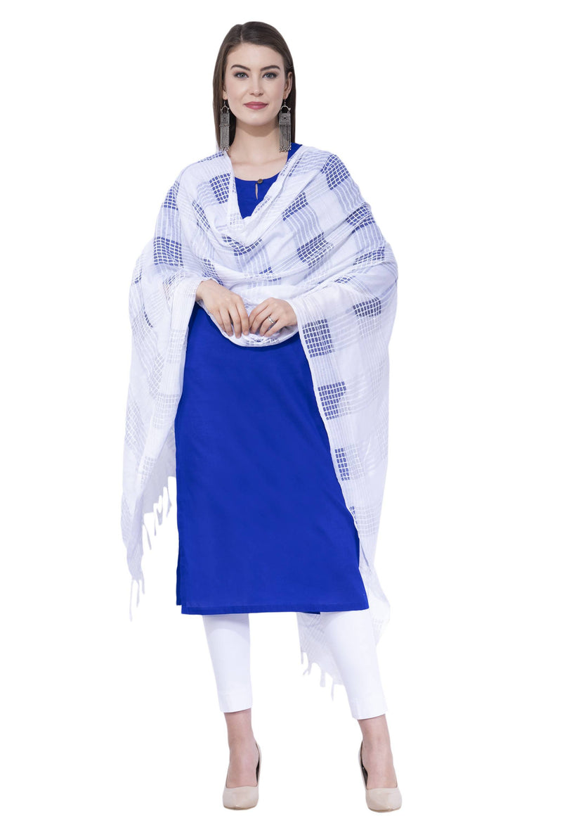 A R SILK Off white Color Window square Cotton Dupattas and Chunnis