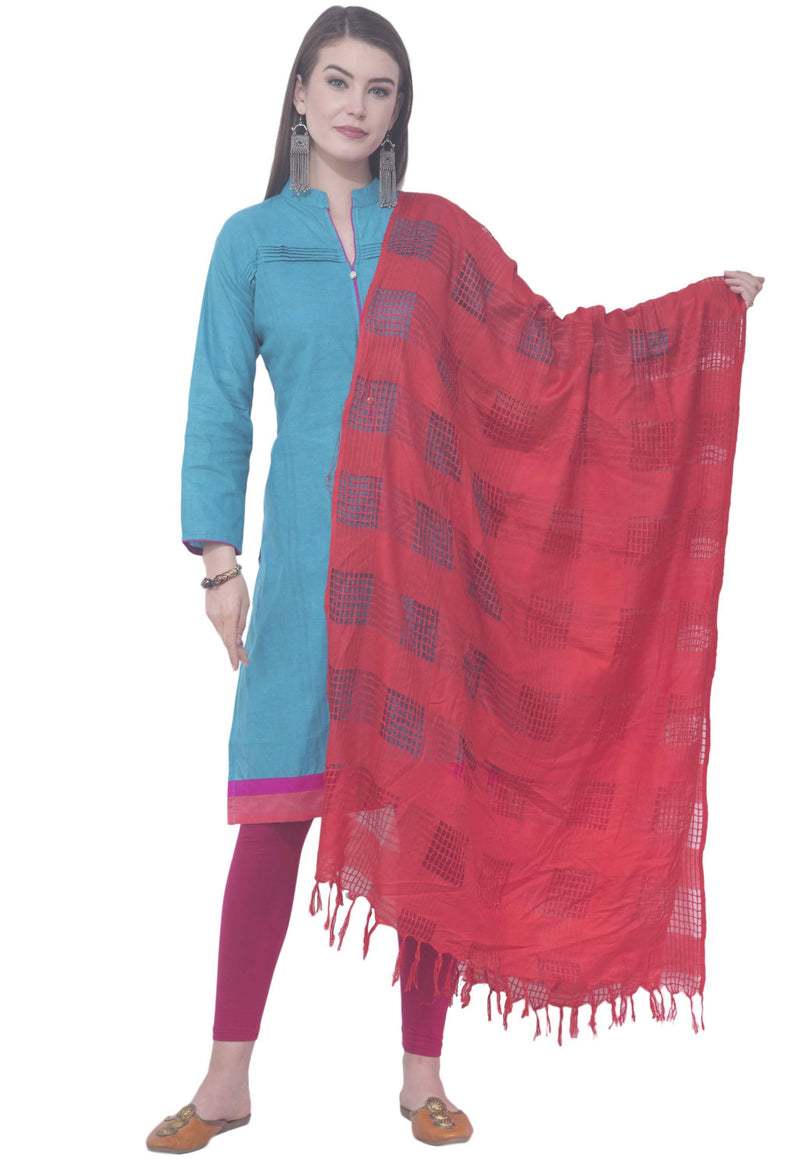 A R SILK Red Color Window square Cotton Dupattas and Chunnis