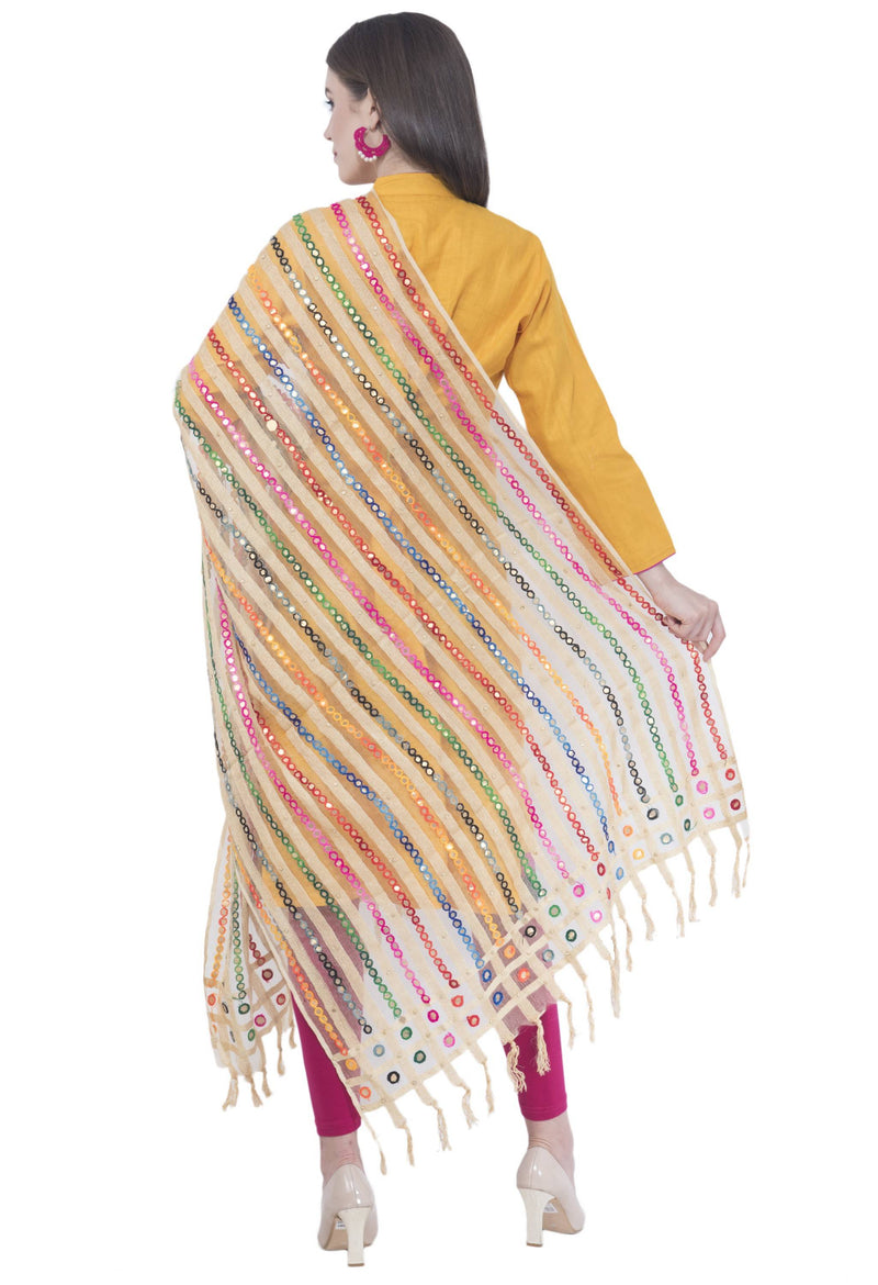 A R SILK White Color Multi Stripe Dupattas and Chunnis