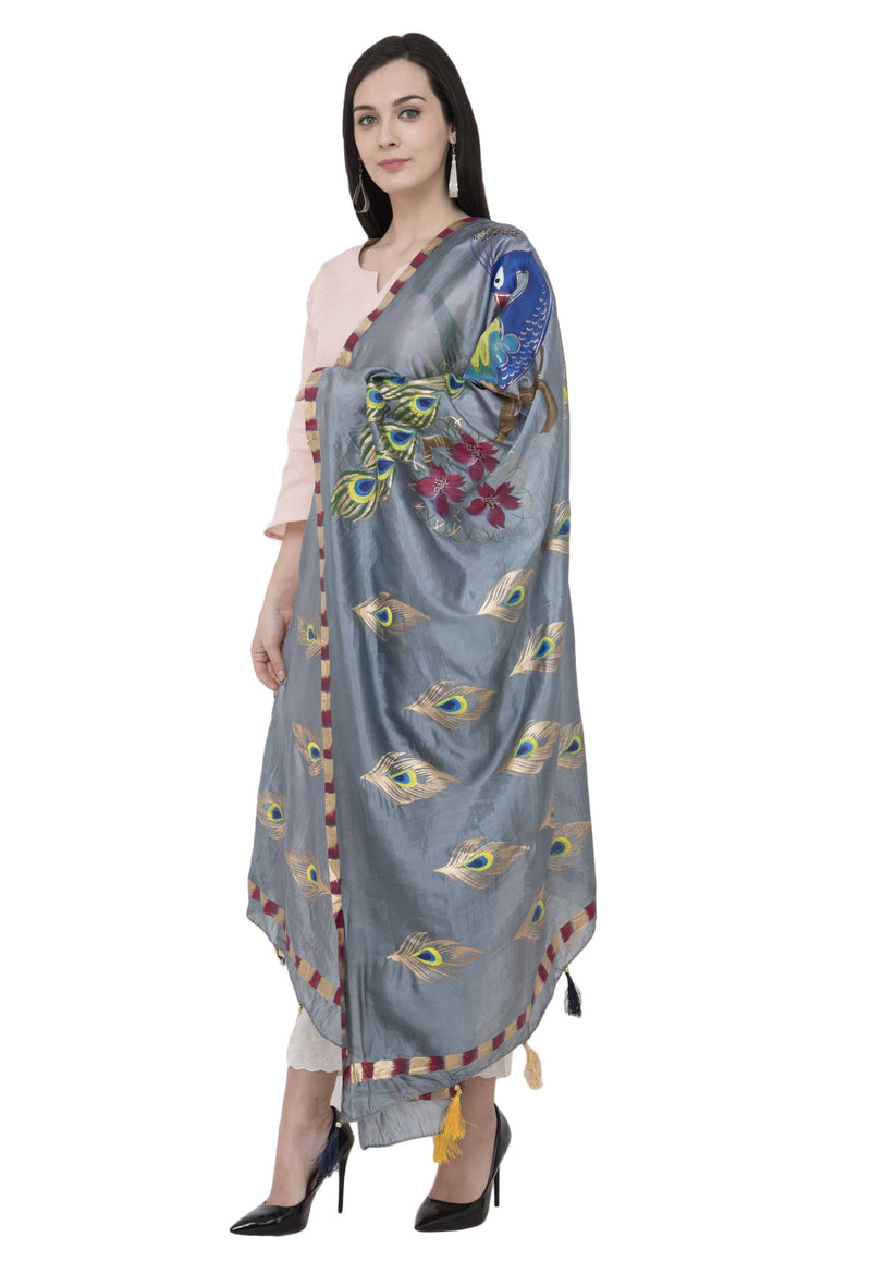 A R Silk Silk Peacock Multi Fancy Dupatta Color Gray Dupatta or Chunni