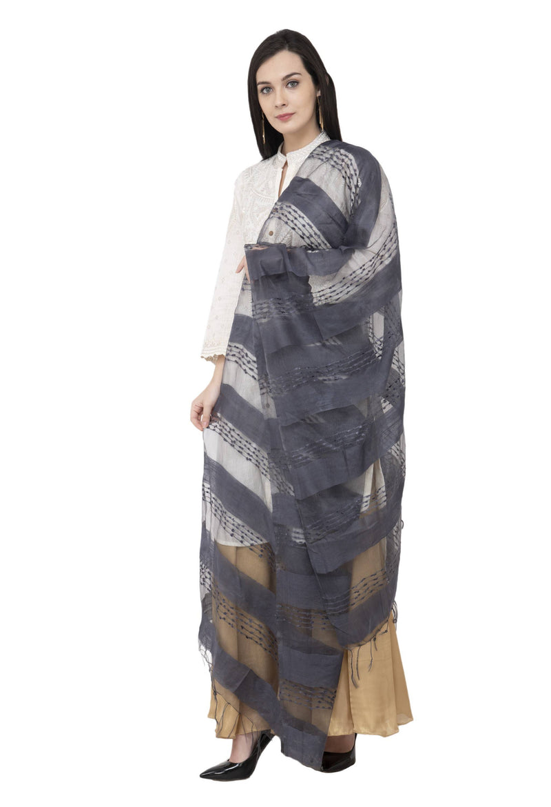 A R SILK Payal Plan Regular Dupatta Gray Color Dupatta or Chunni