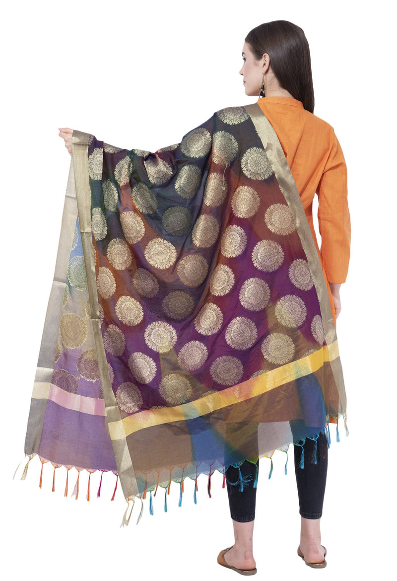 A R Silk Women's Zari Embroidery With Rainbow Colour Vanarsi Silk Rainbow Multi Dupattas and Chunnis