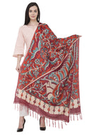 A R Silk Modal Kalamkari Print Fancy Dupatta Color Mehroon Dupatta or Chunni