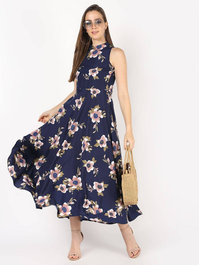 Floral Printed Flair With Drawstring Party Dress