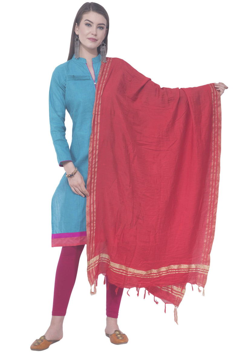 A R SILK Red Color Golden border Cotton Dupattas and Chunnis