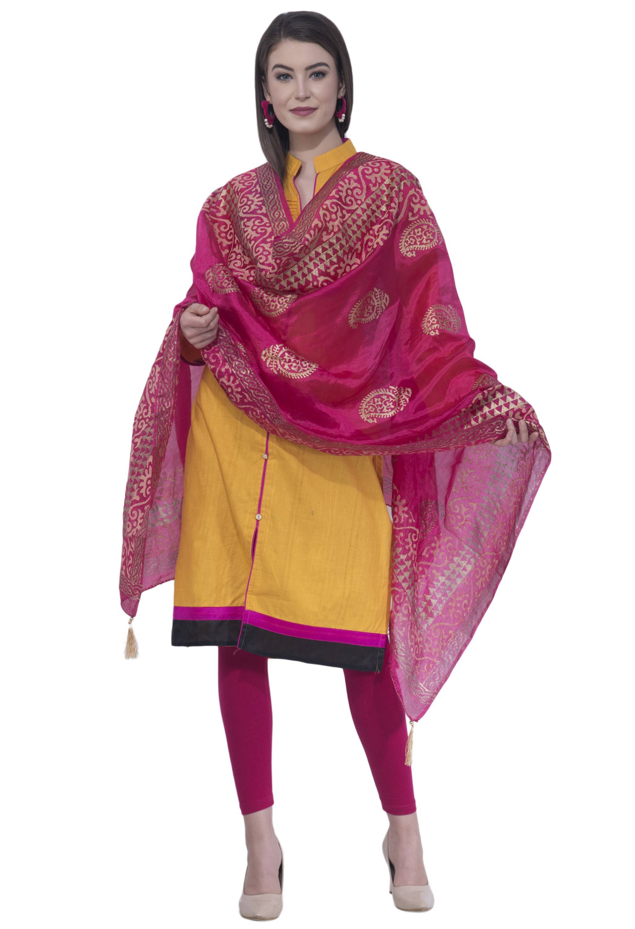 A R SILK Rani Color Silk Pahadi Print Dupattas and Chunnis