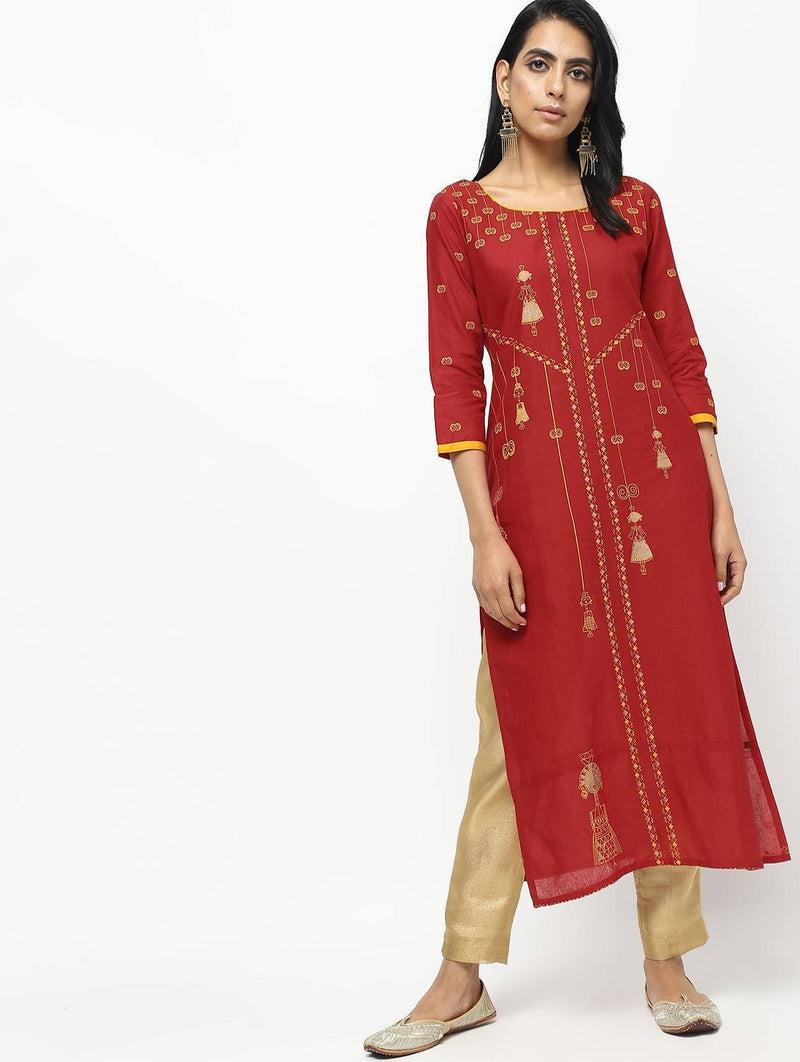 Red Straight Printed Kurta