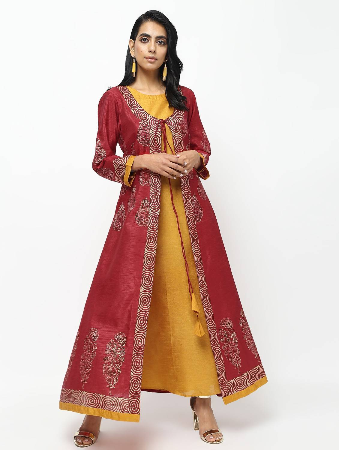 Double Layer Long Anarkali With Beautiful Block Print Design Kurta