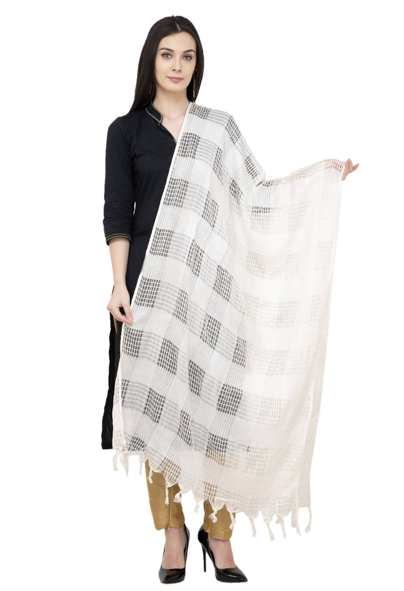 A R Silk Window Square Regular Dupatta Color White Dupatta or Chunni