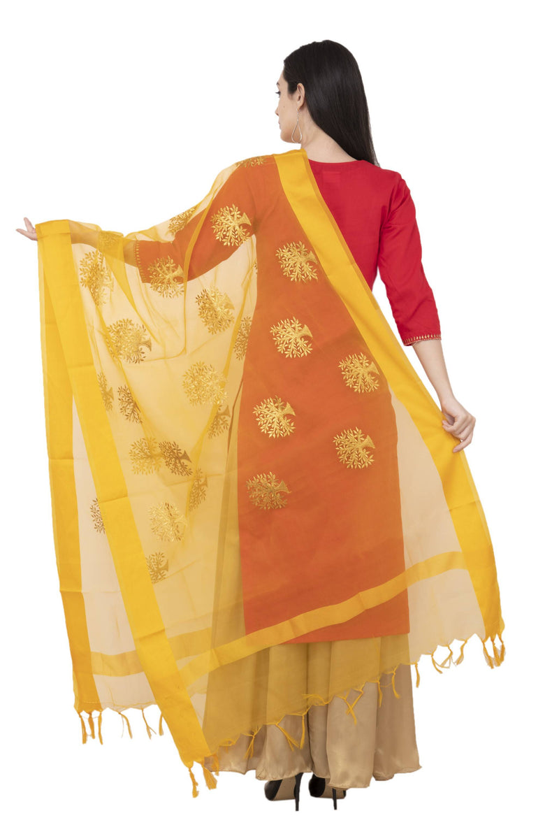 A R Silk TISSUE ZARI EMB. Fancy Dupatta Color Yelllow Dupatta or Chunni