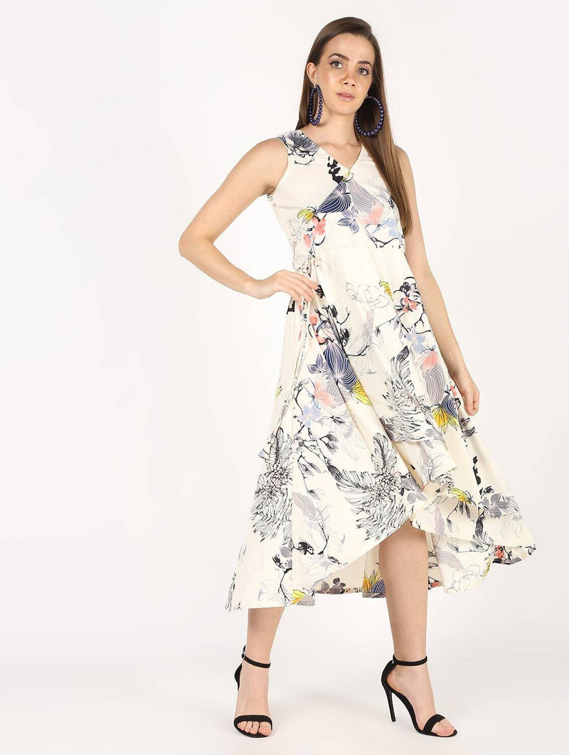 Floral Printed Flair With Drawsting Party Dress