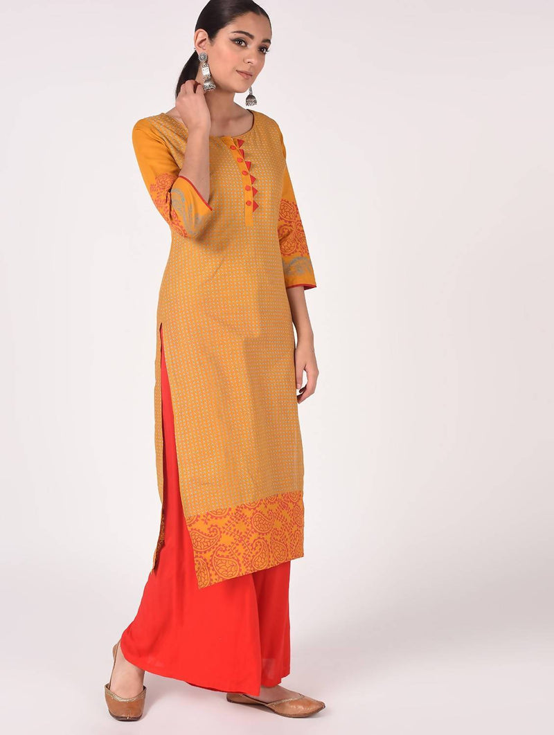 Hand Block print straight Kurta with Palazzo MAAI-039K
