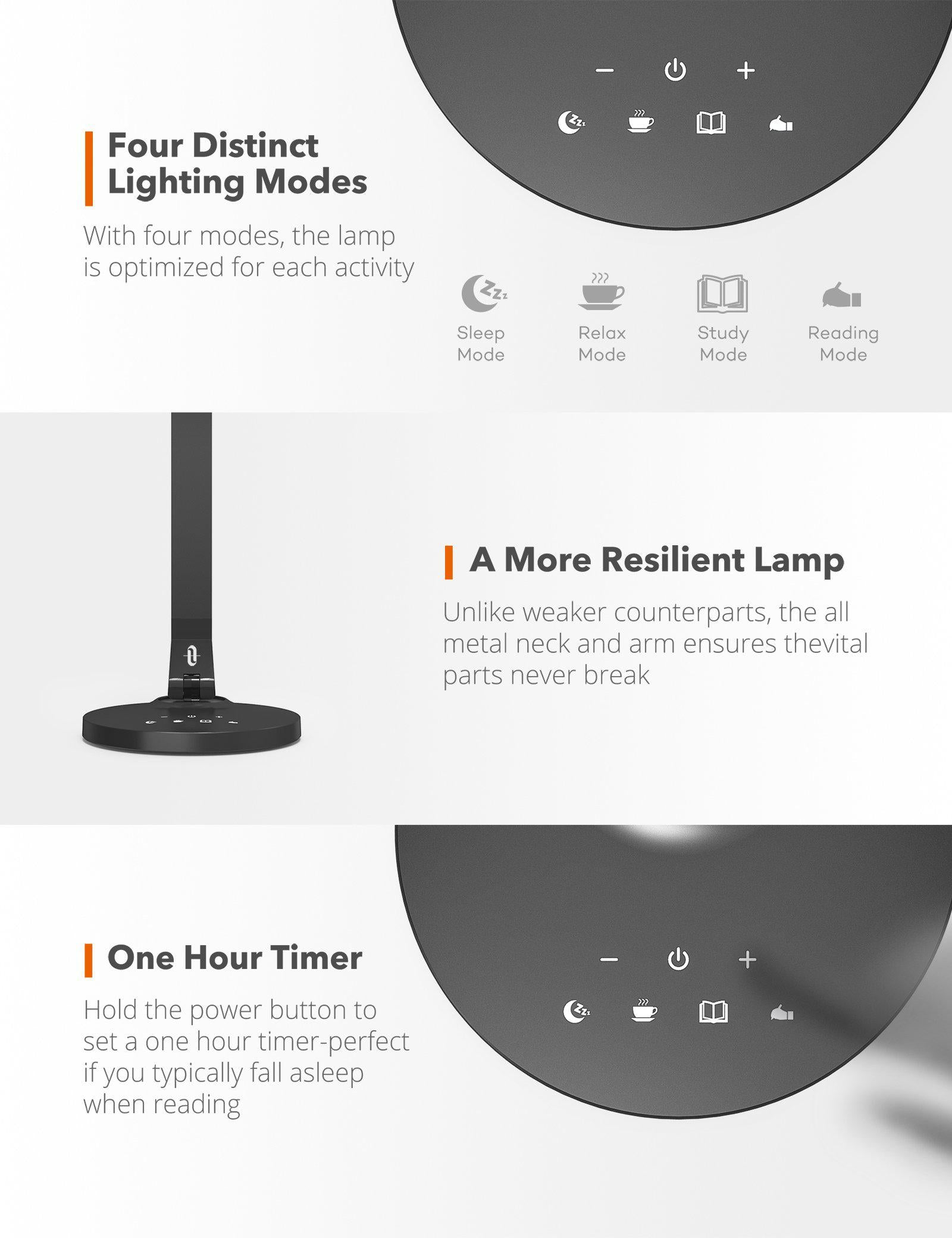 LED Desk Lamp 27 Fully Rotatable Dimmable with USB Charging Port-TaoTronics
