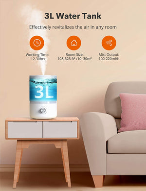 3L Cool Mist Humidifier Top Fill Humidifiers for Large Bedroom-TaoTronics