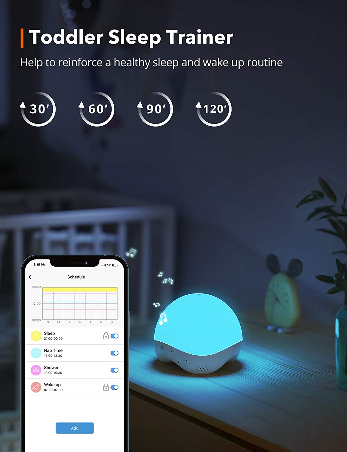 Sleep Trainer for Baby APP /& Voice Control Toddlers /& Adults Auto-Off Timer RGB /& Warm Night Light with 25 Non-Looping Sounds TaoTronics White Noise Machine