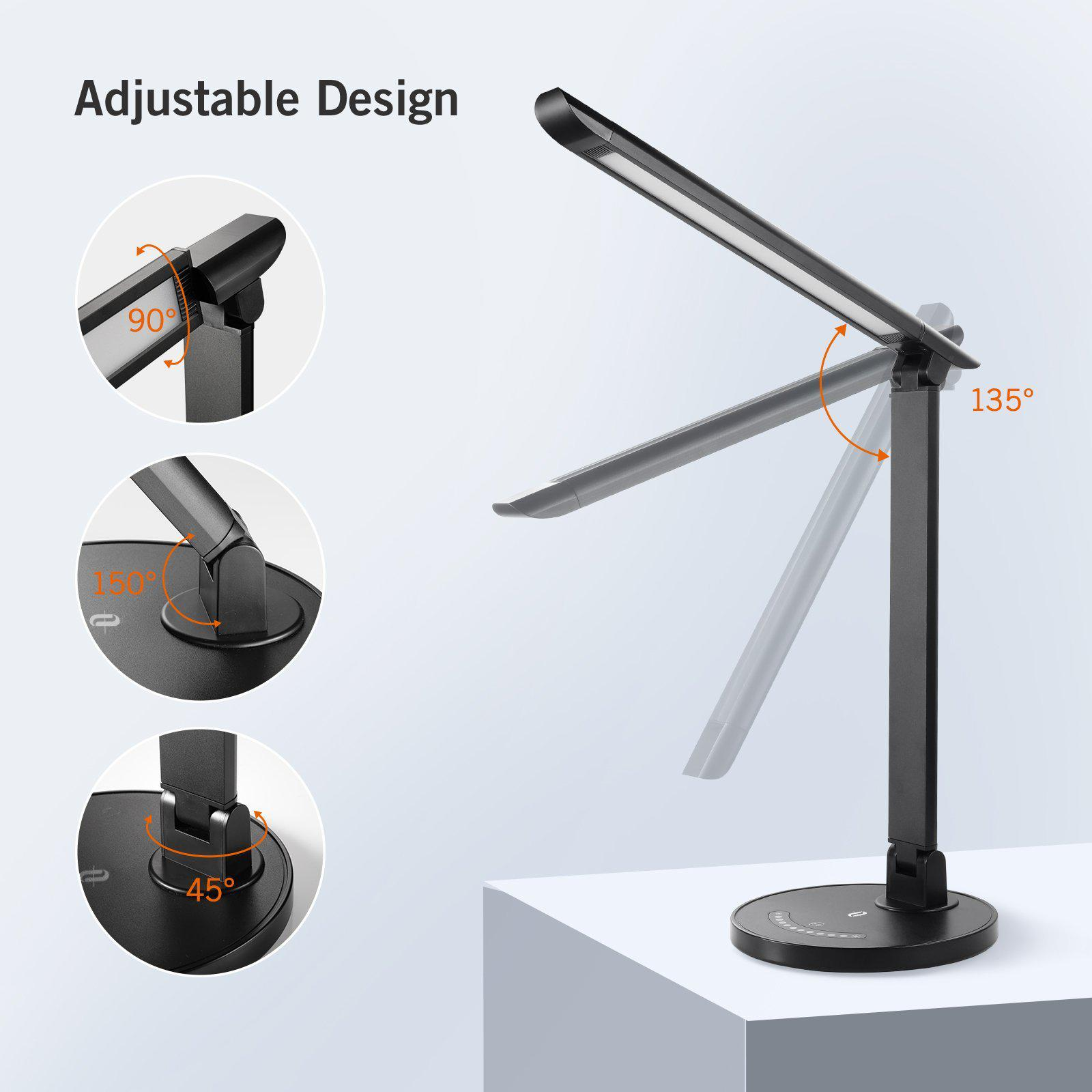 Dimmable Office Lamp with USB Charging Port TaoTronics LED Desk Lamp Eye-Caring Table Lamps 5 Color Modes Touch Control Renewed 12W Black