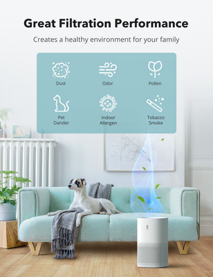 HEPA Air Purifier for Home with Air Quality Sensor, Auto Mode, Timer, 4 Displaying Colors