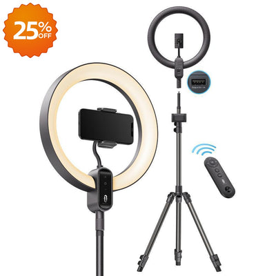 "12"" Ring Light with Stand, Outer 24W 6500K, Selfie Ring Light-TaoTronics"