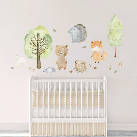 Woodland Animal Wall Decals in Baby Nursery