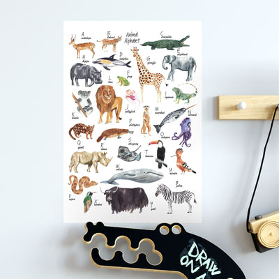 illustrated animal alphabet wall sticker poster in kids bedroom - little lion house perth, western australia