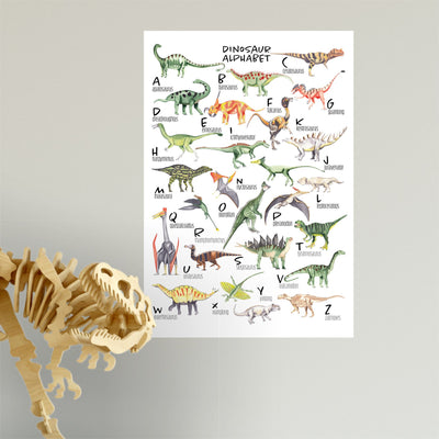 illustrated dinosaur alphabet wall sticker poster in kids bedroom  - little lion house perth, western australia