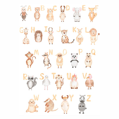 Watercolour Animal Alphabet Wall Sticker