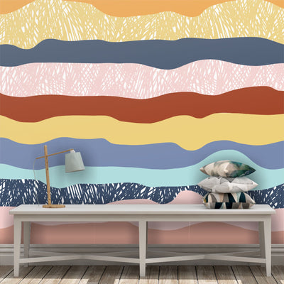 Wavy lines removable wallpaper
