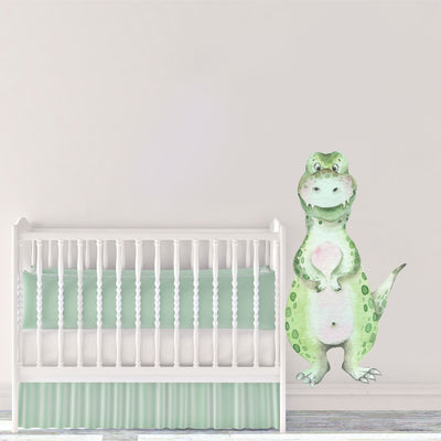 Large speckled green friendly dinosaur wall decal for baby nursery