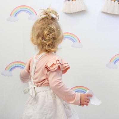 Rainbow and clouds wall decals in kids bedroom