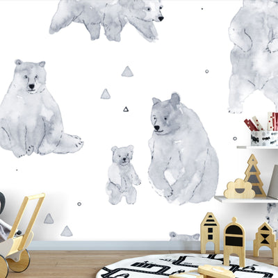 Black and white bears removable wallpaper in kids room