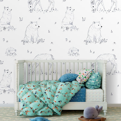 Black and white woodland animals removable wallpaper in nursery