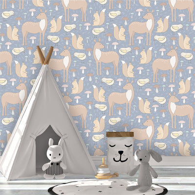 Forest Friends Removable Wallpaper in kids bedroom