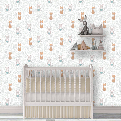 Cat and mouse removable wallpaper in baby nursery