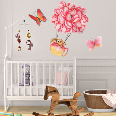 Butterfly Flowers and Bunny Nursery Wall Decals - Little Lion House