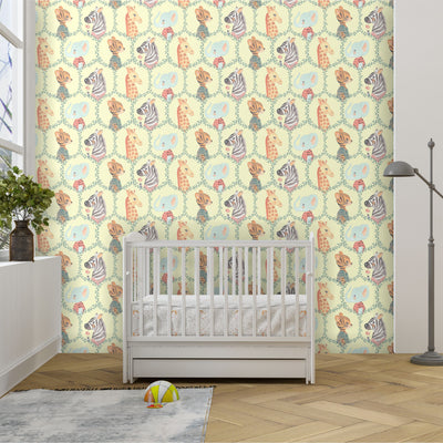 Safari animal removable wallpaper in baby nursery