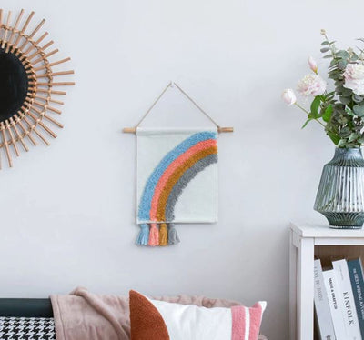 Half rainbow tapestry wall hanging for kids bedroom - little lion house perth, western australia