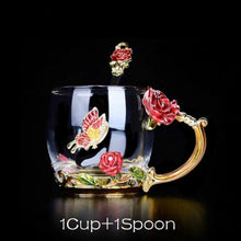 Load image into Gallery viewer, Handmade Rose Mugs with Spoon