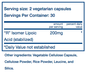 Vital Nutrients R-Form Lipoic Acid 100mg
