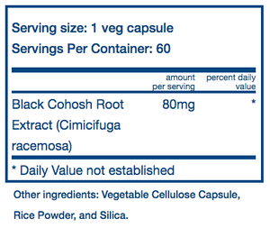 Vital Nutrients Black Cohosh 2.5% 80mg